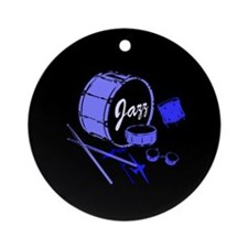 Jazz Drums Blue Ornament (Round)