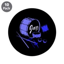 "Jazz Drums Blue 3.5"" Button (10 pack)"