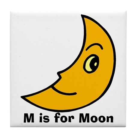 M Is For Moon Tile Coaster By Sugarbelleshop