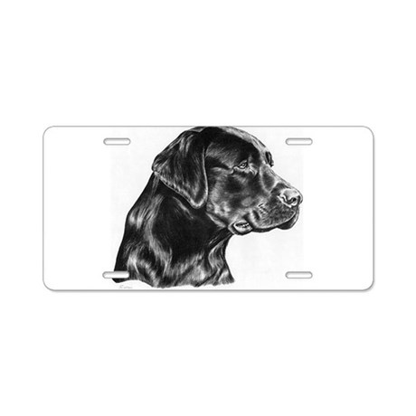 Black Lab drawing Aluminum License Plate