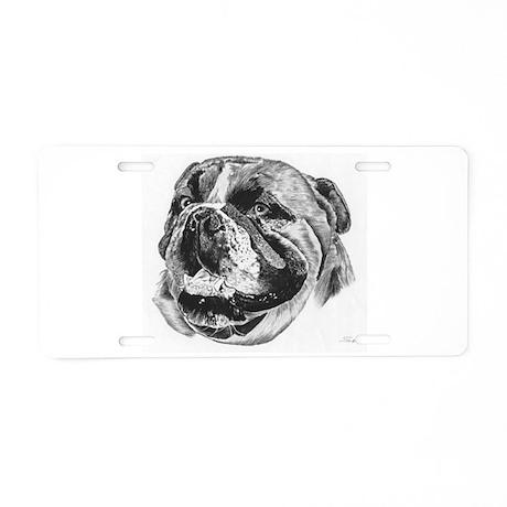 Bulldog Pencil Drawing Aluminum License Plate