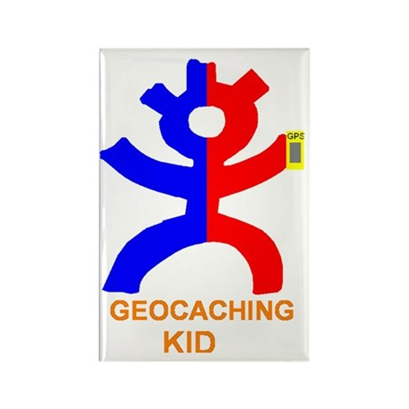 Geocaching Kid Rectangle Magnet