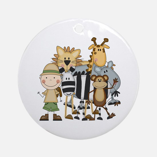 Boy on Safari Ornament (Round)