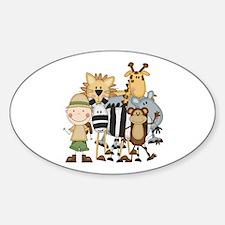 Boy on Safari Sticker (Oval)