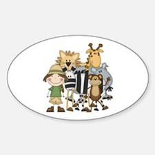 Girl on Safari Sticker (Oval)