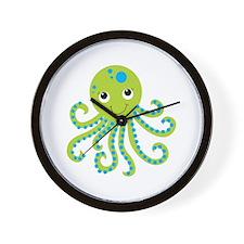 Green Octopus Wall Clock