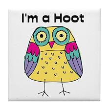 Yellow Owl I'm a Hoot Tile Coaster