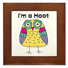 Yellow Owl I'm a Hoot Framed Tile
