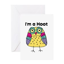 Yellow Owl I'm a Hoot Greeting Card