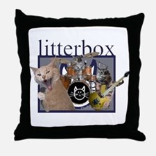litterbox cat rock Throw Pillow