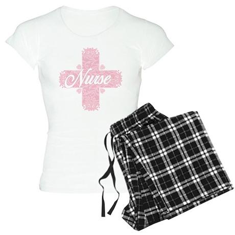 Nurse Pink Lacy Cross Women's Light Pajamas