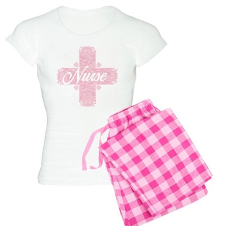 Nurse Pink Lacy Cross Women's Light Pajamas