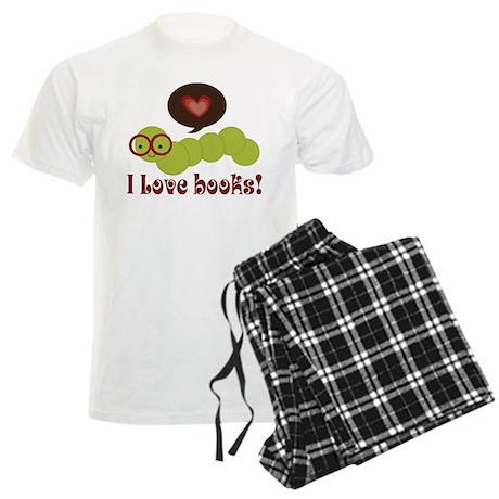 I Love Books Bookworm Men's Light Pajamas