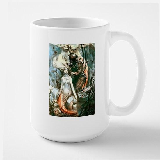 Diver and the Mermaids Large Mug