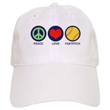 Peace Love Fastpitch Baseball Cap