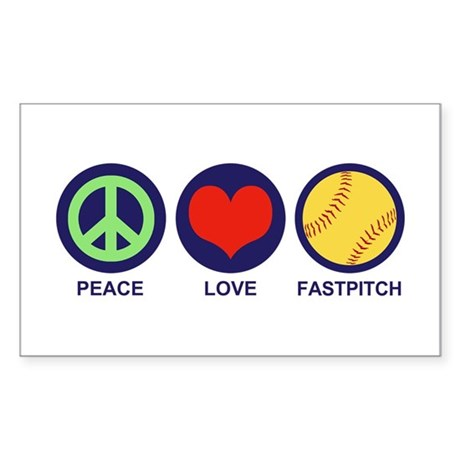 Peace Love Fastpitch Sticker (Rectangle)