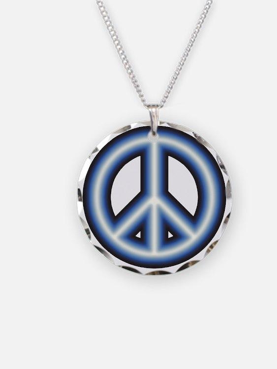 Blue Peace Symbol Necklace