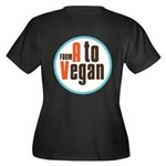 From A to Vegan Women's Plus Size V-Neck Dark T-Sh