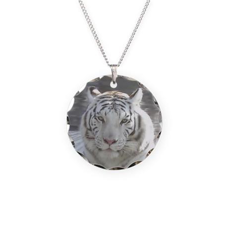 Royal White Tiger Necklace Circle Charm
