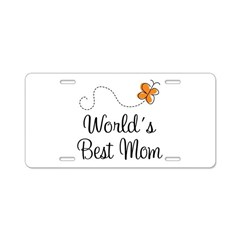 Worlds Best Mom Butterfly License Plate