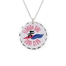 Florida Girl Surf Club Necklace Circle Charm