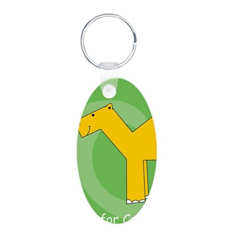 C is for Camel Aluminum Oval Keychain