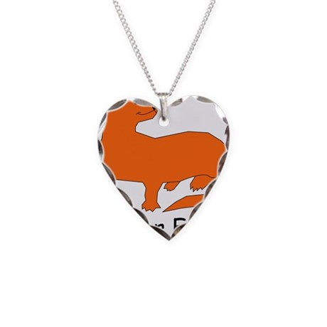 F is for Ferret Necklace Heart Charm