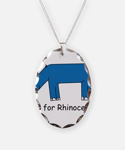 R is for Rhino Necklace Oval Charm