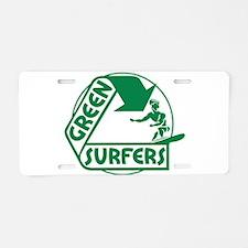 Green Surfers Aluminum License Plate