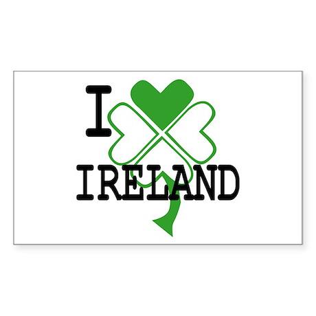 I love Ireland Shamrock Rectangle Sticker