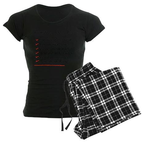 Child-Free Checklist Women's Dark Pajamas