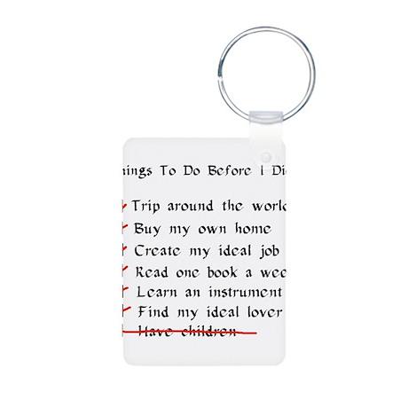 Child-Free Checklist Aluminum Photo Keychain