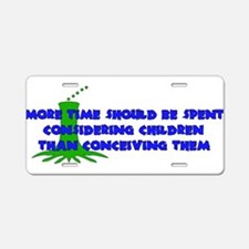 Think More Breed Less Aluminum License Plate