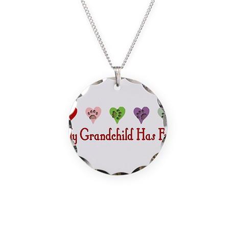 Furry Grandchild Necklace Circle Charm