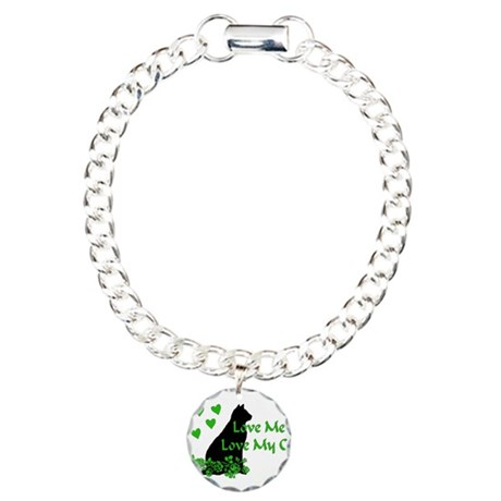 Love Me Love My Cat Charm Bracelet, One Charm