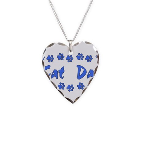 Cat Dad Necklace Heart Charm