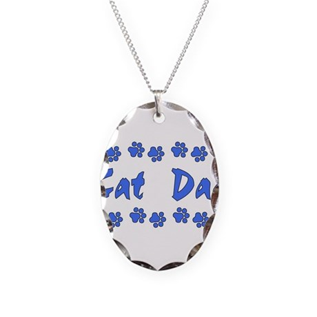 Cat Dad Necklace Oval Charm
