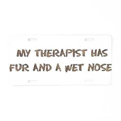 Furry Dog Therapist Aluminum License Plate