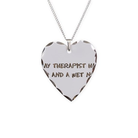 Furry Dog Therapist Necklace Heart Charm