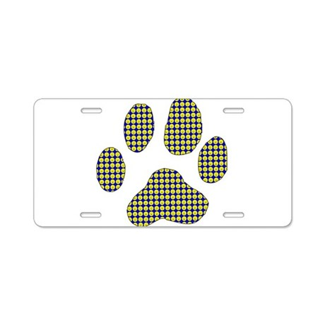 Smiley Dog Paw Print Aluminum License Plate