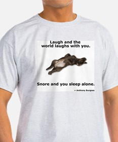 Snoring Chocolate Labrador Ash Grey T-Shirt