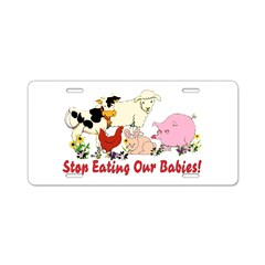 Stop Eating Our Babies Aluminum License Plate