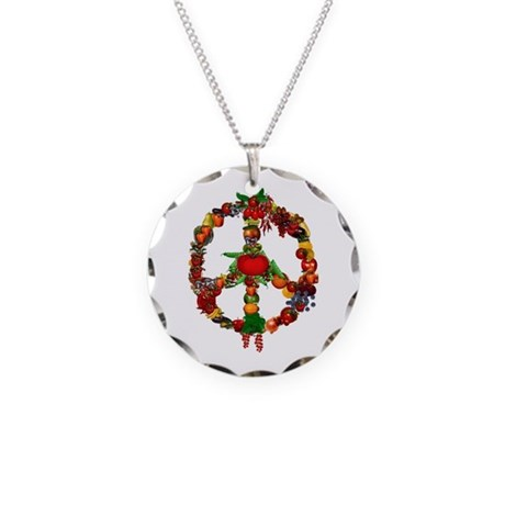 Veggie Peace Sign Necklace Circle Charm