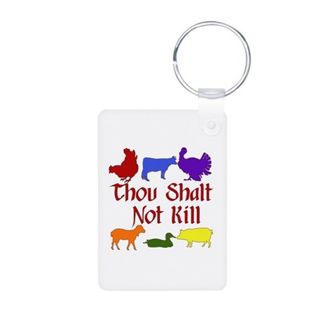 Thou Shalt Not Kill Aluminum Photo Keychain