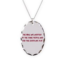 Flat Earth Historians Necklace Oval Charm