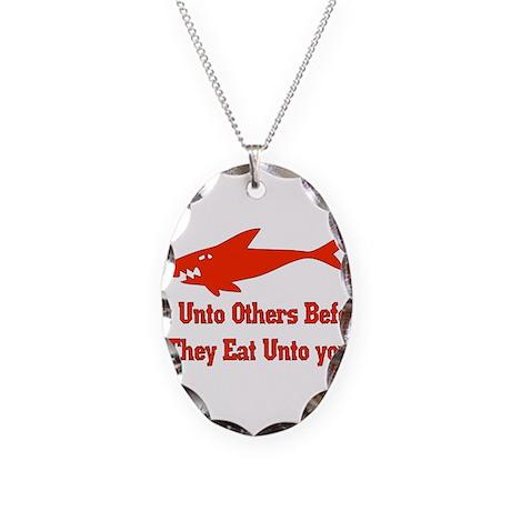 Golden Shark Rule Necklace Oval Charm