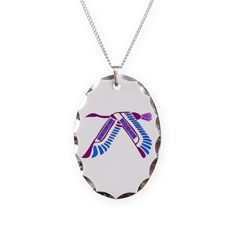 Strong Woman Flying Necklace Oval Charm