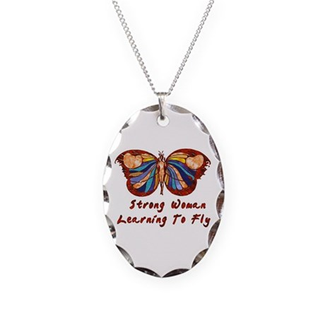 Strong Woman Learning To Fly Necklace Oval Charm