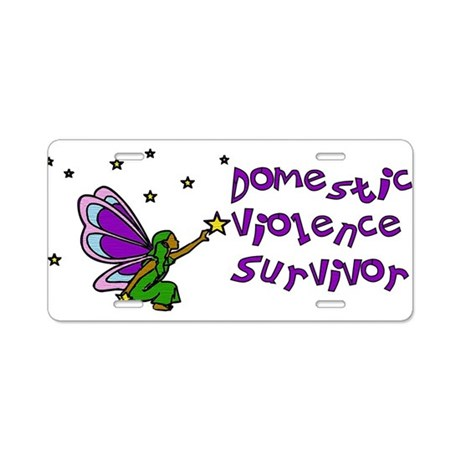 Domestic Abuse Angel Aluminum License Plate