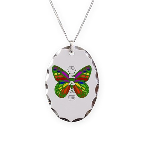 Peace Butterfly Necklace Oval Charm